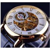 The Cheapest Men Watches White Golden Case 3D Literal Design Skeleton Watch Leather Mechanical Online