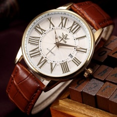 Price Compare Men White Dial Automatic Mechanical Date Gold Case Leather Strap Men S Wrist Watch Pmw285 Intl