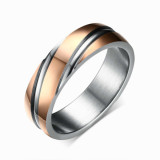 Retail Men Women Titanium Steel Twill Style Couple Ring Size 5 13 Rose Gold