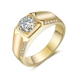 Discount Men S 18K Platinum Plated Gold Diamond Wedding Band Ring Intl