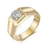 Men S 18K Platinum Plated Gold Diamond Wedding Band Ring Intl Deal
