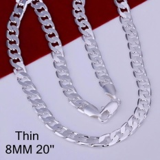 Mens 925 Silver Plating Chain Necklace 8mm 20inch - Intl By La Vie Store.