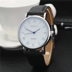 Mens Charming Casual Business Roman Numerals Round Faux Leather Wrist Watch - intl Singapore