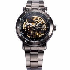 Review Men S Classic Skeleton Gunmetal Stainless Steel Automatic Mechanical Sport Watch Pmw210 Intl China