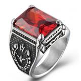 Men S Domineering Titanium Steel Rings Inlaid Gemstone Red Free Shipping