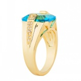 Compare Price Mens Fashion 18K Yellow Gold Plated Turquoise Blue Zircon Pinky Ring Us Size 8 15 Intl On China