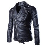 Review Men S Korea Style Multi Zipper Pu Leather Motorcycle Biker Jackets Intl Oem On China
