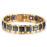 Men S Stainless Steel Ceramic 2 In 1 Theraphy Healing Germanium Magnetic Bracelet Black Gold Intl Best Price