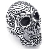 Mens Stainless Steel Ring Large Heavy Gothic Skull Black Silver Shopping
