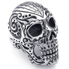 Review Mens Stainless Steel Ring Large Heavy Gothic Skull Black Silver Oem