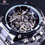 Price Compare Mens Watch Transparent Case Golden Stainless Steel Skeleton Luxury Design Top Brand Automatic Watch Silver Black Intl