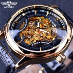 Sale Mens Watches 2016 Fashion Black Golden Star Luxury Design Clock Mens Watch Top Brand Luxury Mechanical Skeleton Watch Male Wrist Watch Intl Viuidueture Cheap