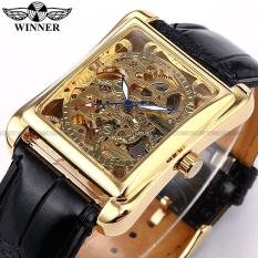 Best Deal Mens Watches Skeleton Gold Watch Retro Designer Rectangle Black Leather Men Casual Watch Men Luxury Brand Automatic Mechanical Watch Intl