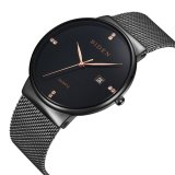 Sales Price Mens Womens Unisex Waterproof Simple Casual Analog Quartz Dress Wrist Watch With Black Mesh Bracelet Intl