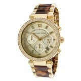 Discount Michael Kors Parker Chronograph Women S Tortoiseshell Stainless Steel Strap Watch Mk5688