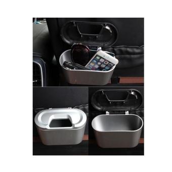 Mini Vehicle Auto Car Garbage Dust Case Holder Box Bin Trash Rubbish Can Silver