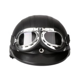 Get Cheap Motorcycle Scooter Open Face Half Leather With Visor Uv Goggles Retro Vintage Style 54 60Cm Intl