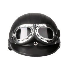 Price Motorcycle Scooter Open Face Half Leather With Visor Uv Goggles Retro Vintage Style 54 60Cm Intl Not Specified