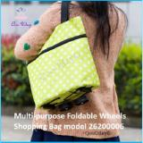 Sale Multi Purpose Foldable Wheels Shopping Bag Lime With Floral Prints Singapore