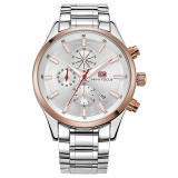Multifunctional Business Solid Stainless Steel Watch Waterproof Luminous Quartz Chronograph Watches For Men Intl Cheap