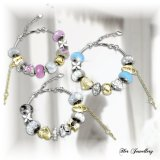 Best Deal Mylady Charm Bracelet Combo Blue Pink White Crystals From Swarovski®