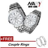 Best Offer Nary 6033 Dial Classic Couple Lover Women Men Quartz Full Stainless Steel Wrist Watch White Free Adjustable Lovers Rings Buy 1 Get 1 Free Intl