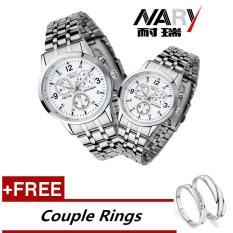 Compare Price Nary 6033 Dial Classic Couple Lover Women Men Quartz Full Stainless Steel Wrist Watch White Free Adjustable Lovers Rings Buy 1 Get 1 Free Intl Nary On China