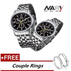 Nary 6033 Dial Classic Couple Lover Women Men Quartz Full Stainless Steel Wrist Watch Black With Free Adjustable Lovers Rings Intl Discount Code