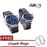 Nary 6033 Dial Classic Couple Lover Women Men Quartz Full Stainless Steel Wrist Watch Blue With Free Adjustable Lovers Rings Intl For Sale Online