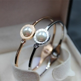 Sale Natural Pearl Beads Diamond Personality Color Gold Rose Gold Bangle Bracelet Pearl Bracelet Hypoallergenic Titanium Steel Online China