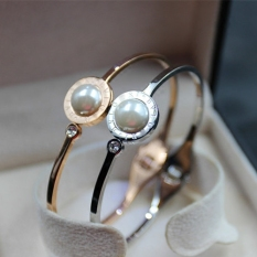 Cheapest Natural Pearl Beads Diamond Personality Color Gold Rose Gold Bangle Bracelet Pearl Bracelet Hypoallergenic Titanium Steel Online