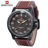 Price Compare Naviforce 9076 Male Quartz Watch Date 24 Hours Display 3Atm Leather Band Wristwatch Intl