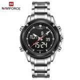 Get Cheap Naviforce Nf9050 Dual Movt Men Quarz Watch Analog Digital Led Silver Silver
