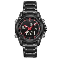Retail Price Naviforce Nf9050 Dual Movt Men Quarz Watch Analog Digital Led Wristwatch Calendar Watches Stainless Steel Strap Black