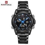 Cheapest Naviforce Nf9050 Dual Movt Men Quarz Watch Analog Digital Led Wristwatch Calendar Watches Stainless Steel Strap Intl