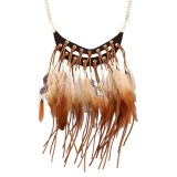 New Fashion Bohemian Style Women Ladies Eye Catching Leather Alloy Choker Necklace Charming Long Pendent Feather Tassels Choker Necklace Color C0 Intl Best Price