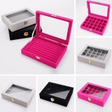 Best Buy New High Quality Velvet Glass Jewelry Ring Display Organizer Box Tray Holder Earring Storage Case Intl