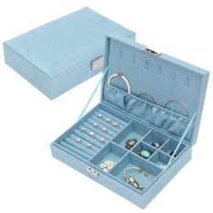 Low Cost New High Quality Velvet Vintage Box Storage Organizer Case Ring Ear Necklace Holder Tray For Women Blue Intl