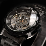 Top Rated New Men Classic Transparent Steampunk Skeleton Mechanical Stainless Steel Watch Black Bronze