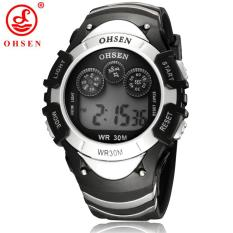 Price New Original Ohsen Brand Fashion Digital Sport Watch Wristwatch Children Boy 30M Waterproof Rubber Silver Watches For Kids Gift Ohsen China