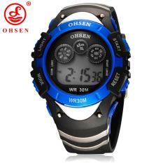 Low Cost New Original Ohsen Brand Fashion Digital Sport Watch Wristwatch Children Boy 30M Waterproof Rubber Silver Watches For Kids Gift