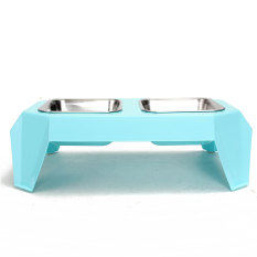 Deals For New Pet Dog Cat Double Stainless Steel Bowl Dish Food Feeder Raised Stand Holder Light Blue Intl