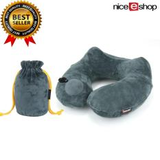 Discount Niceeshop Automatic Inflatable Travel Pillow 3D Hump Design U Shaped Pillow Gray Niceeshop On China