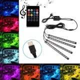 Where Can You Buy Niceeshop Car Interior Lights Usb Car Led Strip Lights Atmosphere Neon Rgb Lights With Music And Wireless Remote Control 4Pcs Intl