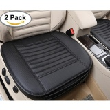 Wholesale Niceeshop Edge Wrapping Car Front Seat Cover 2Pcs Universal Breathable Pu Leather Bamboo Charcoal Auto Office Interior Seat Protector Cushion Pad Mat Black Intl