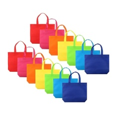 Niceeshop Gift Tote Bags Diy Party Favor Non-Woven Blank Bags 7 Assorted Bright Color With Handle,13 By 10 Inch For Kids Adults (14 Pcs) By Nicee Shop