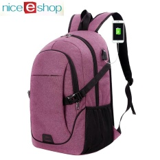 Cheaper Niceeshop Waterproof Business Casual Laptop Backpack With Usb Charging Port Oxford Cloth Travel Bag Purple Intl