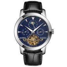 Ninror Guanqin Genuine Watches Business Automatic Mechanical Watches Mens Fashion Belt Hollow Tourbillon Waterproof Sheet Blue Coupon