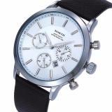 North Sports Luxury Mens Genuine Leather Quartz Wrist Watch White Navy Free Shipping