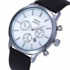 Cheap North Sports Luxury Mens Genuine Leather Quartz Wrist Watch White Navy
